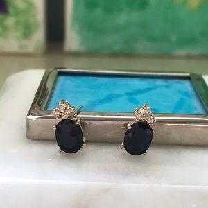 Jewelry - Beautiful sapphire oval earrings w diamonds 14k